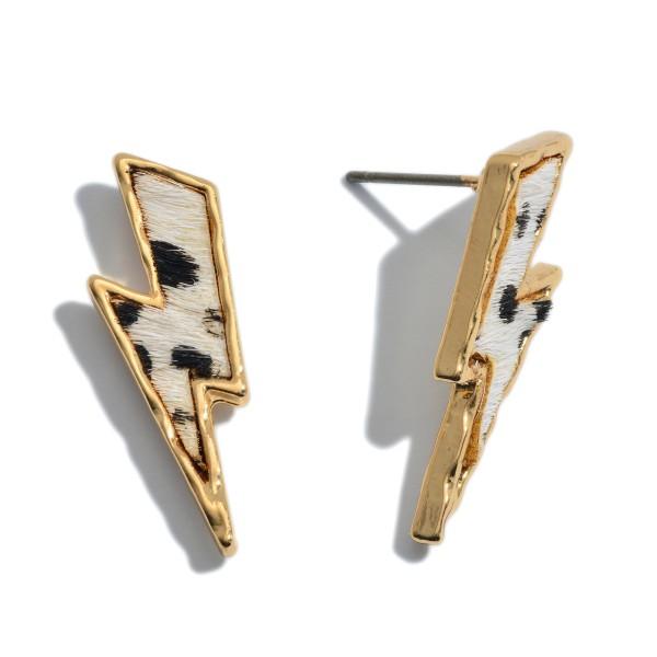 "Genuine Leather Cheetah Print Lightning Bolt Stud Earrings.  - Approximately 1"" Long"