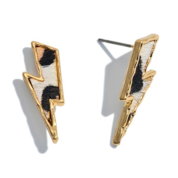"Genuine Leather Leopard Print Lightning Bolt Stud Earrings.  - Approximately 1"" Long"
