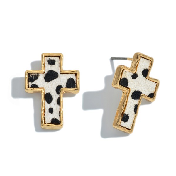 "Genuine Leather Cheetah Print Cross Stud Earrings.  - Approximately .75"" in Size"