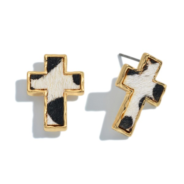 Wholesale genuine Leather Leopard Print Cross Stud Earrings
