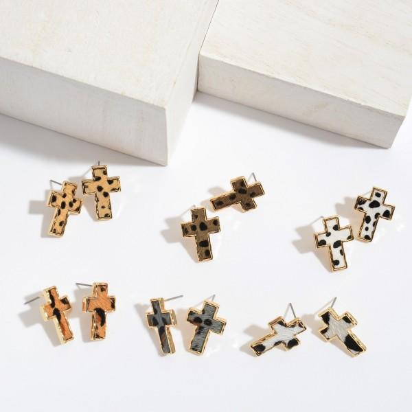 "Genuine Leather Leopard Print Cross Stud Earrings.  - Approximately .75"" in Size"