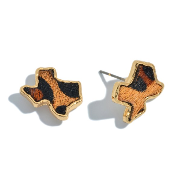 "Genuine Leather Leopard Print Texas State Stud Earrings.  - Approximately .75"" in Size"