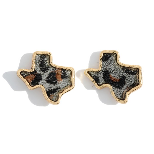 """Genuine Leather Leopard Print Texas State Stud Earrings.  - Approximately .75"""" in Size"""