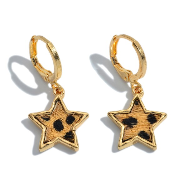 "Genuine Leather Cheetah Print Star Huggie Hoop Earrings.  - Approximately 1"" in Length"