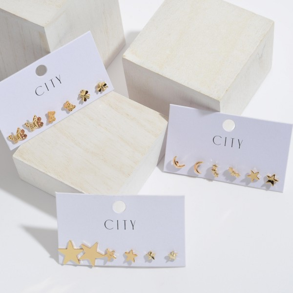 3 PC Butterfly Stud Earring Set in Gold.  - 3 Pair Per Set - Approximately 10mm in Size