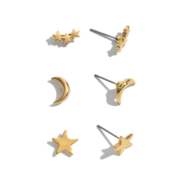 3 PC Moon and Star Stud Earring Set in Gold.  - 3 Pair Per Set - Approximately 1cm
