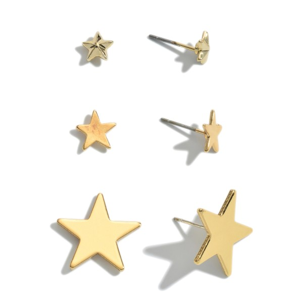 """3 PC Star Stud Earring Set in Gold.  - 3 Pair Per Set - Approximately 4mm - .75"""""""