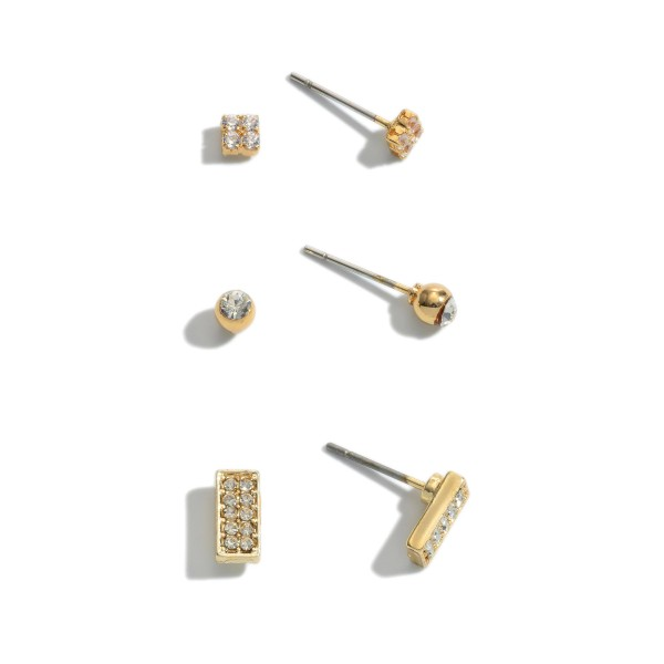 3 PC Cubic Zirconia Stud Earring Set.  - 3 Pair Per Set - Approximately 2mm - 6mm