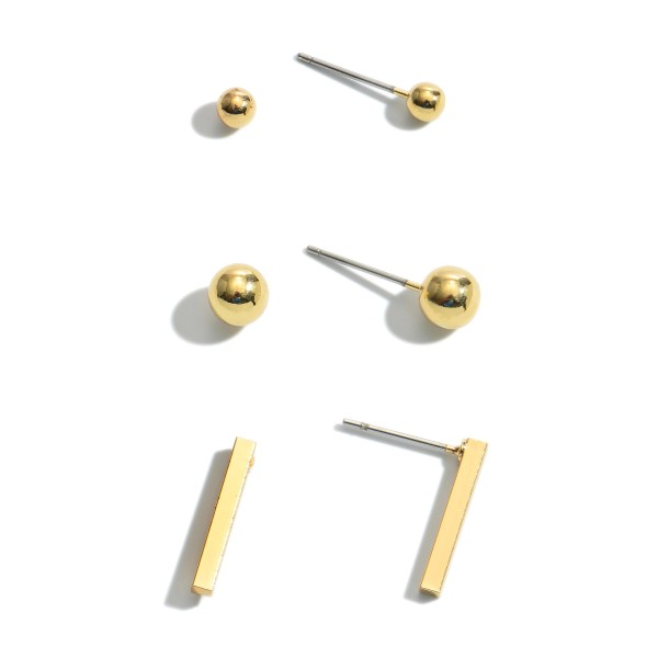 """3 PC Stud Earring Set in Gold.  - 3 Pair Per Set - Approximately 4mm - .75"""""""