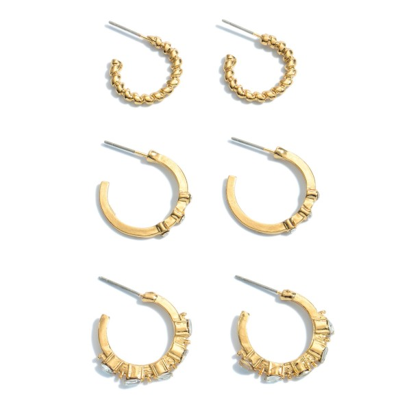 "3 PC Rhinestone Textured Hoop Earring Set in Gold.  - 3 Pair Per Set - Approximately .75"" in Diameter"