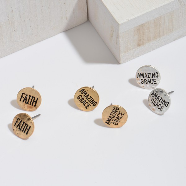 Faith Stud Earrings in Gold.  - Approximately 10mm in Size