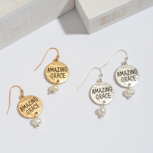 """Amazing Grace Pearl Drop Earrings.  - Approximately .75"""" in Diameter - Approximately 1"""" in Length"""