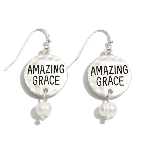 "Amazing Grace Pearl Drop Earrings.  - Approximately .75"" in Diameter - Approximately 1"" in Length"