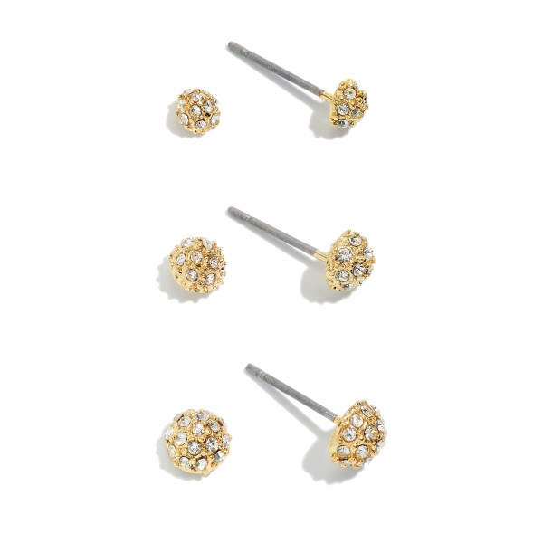 3 PC Dainty Pave Stud Earring Set.  - 3 Pair Per Set - Approximately 2mm - 4mm in Size