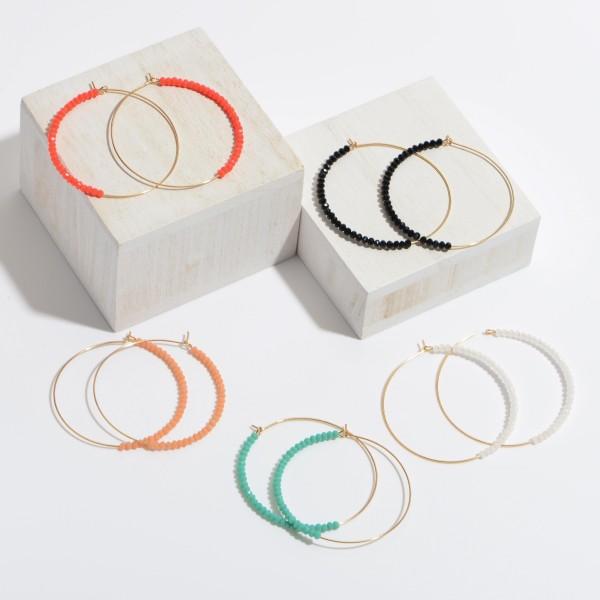 """Beaded Wire Hoop Earrings.  - Approximately 2"""" in Diameter"""