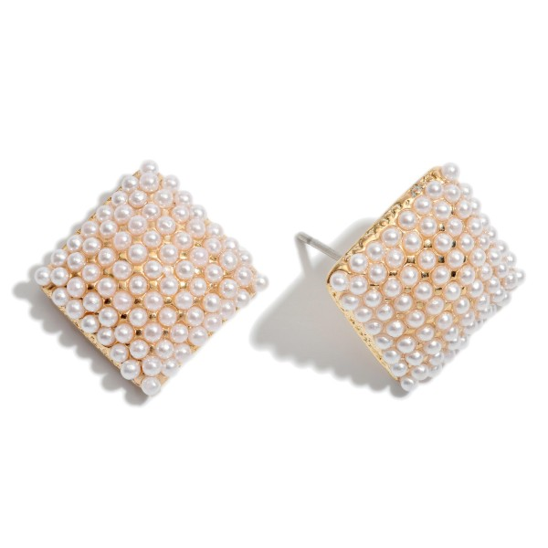 "Pearl Square Button Stud Earrings.  - Approximately .5"" in Size"