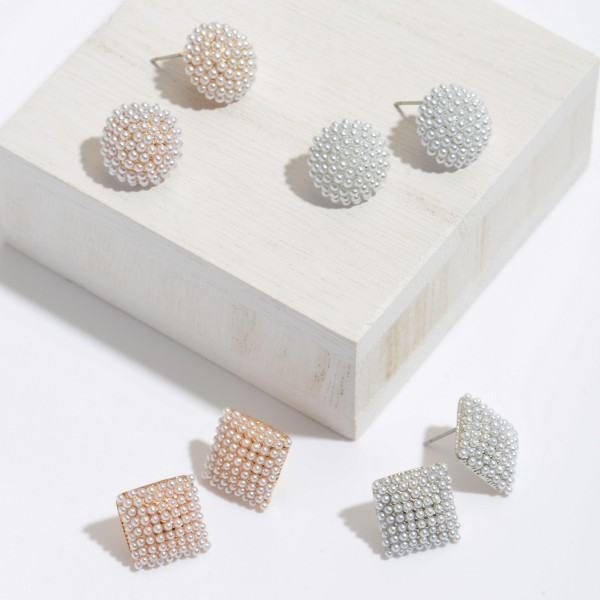"""Pearl Square Button Stud Earrings.  - Approximately .5"""" in Size"""