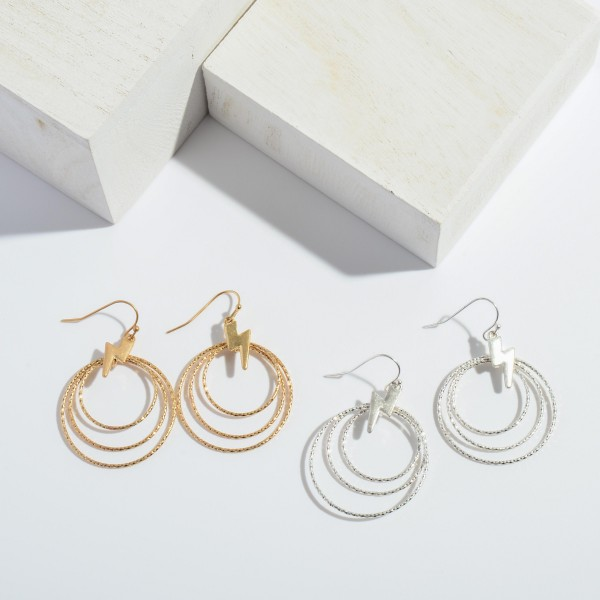 """Textured Round Drop Earrings Featuring Lightning Bolt Accents.  - Approximately 1.5"""" in Length"""