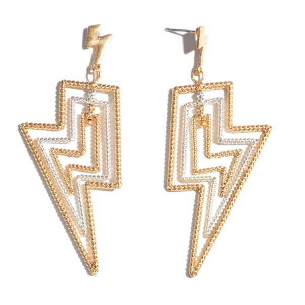 """Two Tone Textured Lightning Bolt Drop Earrings.  - Approximately 3"""" in Length"""