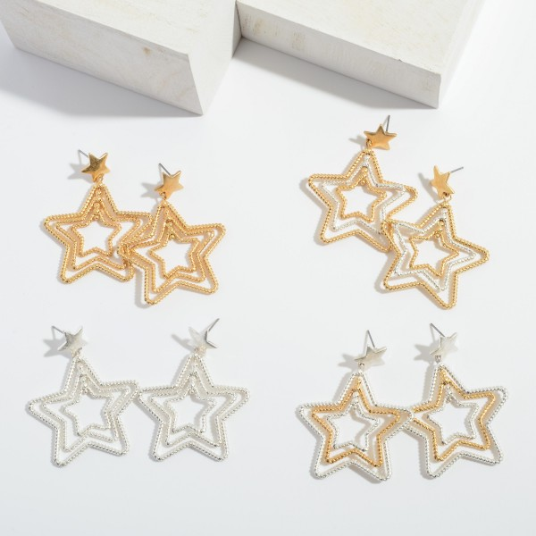 "Two Tone Textured Star Drop Earrings.  - Approximately 2"" in Size"