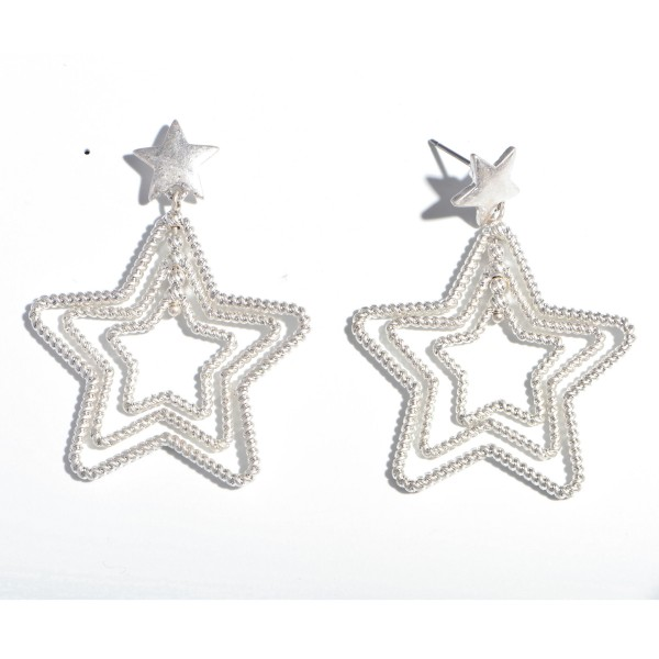 "Textured Star Drop Earrings.  - Approximately 2"" in Size"