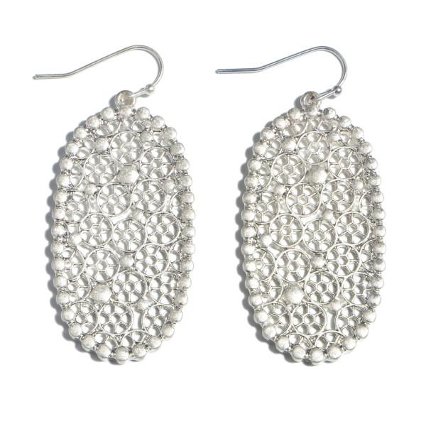 """Metal Filigree Oblong Drop Earrings.  - Approximately 2"""" in Length"""