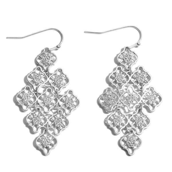 "Metal Filigree Chandelier Earrings.  - Approximately 2"" in Length"