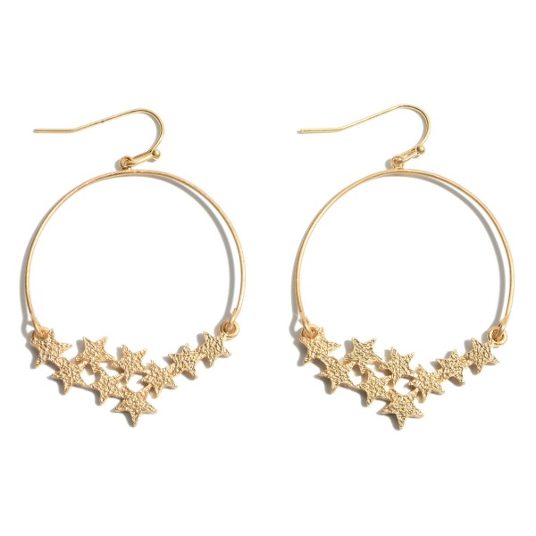 "Round Shimmer Star Drop Earrings.  - Approximately 2"" in Length"