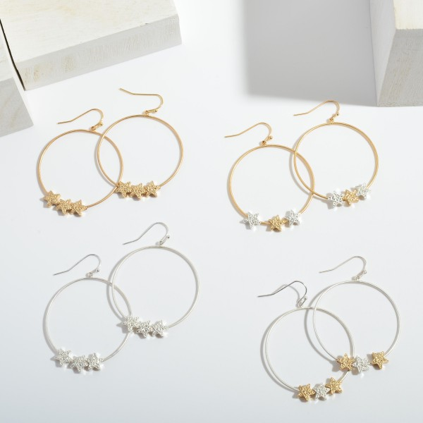 """Round Drop Earrings Featuring Shimmer Star Accents.  - Approximately 2"""" in Length"""
