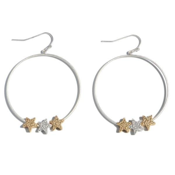 "Round Drop Earrings Featuring Two Tone Shimmer Star Accents.  - Approximately 2"" in Length"