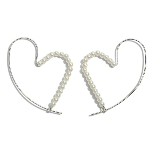 "Pearl Beaded Threader Heart Hoop Earrings.  - Approximately 2"" in Size"