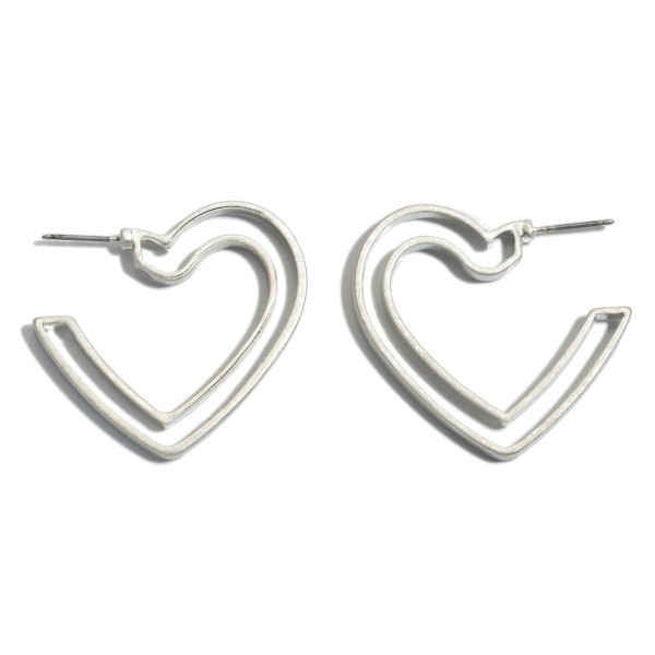 "Metal Outline Heart Hoop Earrings.  - Approximately 1.5"" in Size"