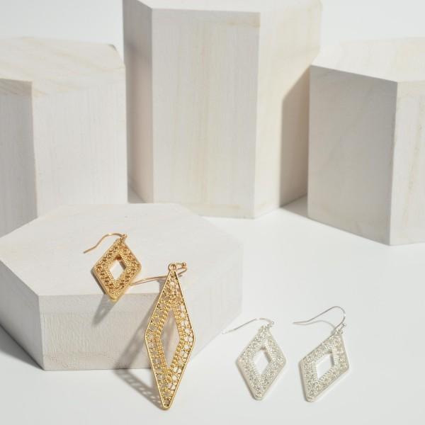 "Geometric Shaped Filigree Drop Earrings.   - Approximately 2.5"" Long"