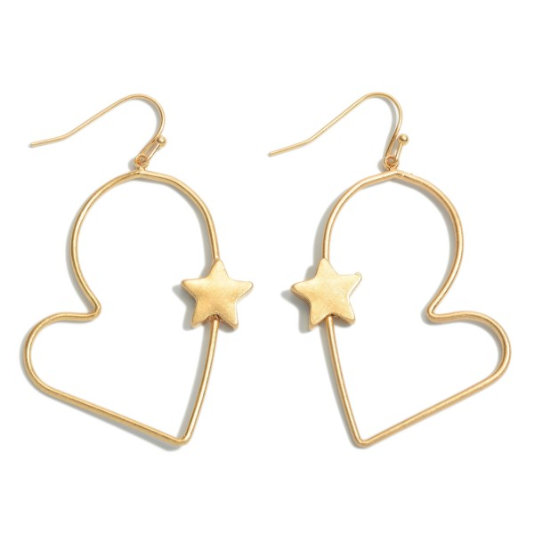 "Heart Drop Earrings Featuring a Star Accent.  - Approximately 2.25"" in Length"