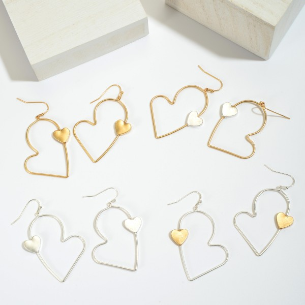 "Heart Drop Earrings Featuring a Heart Accent.  - Approximately 2.25"" in Length"