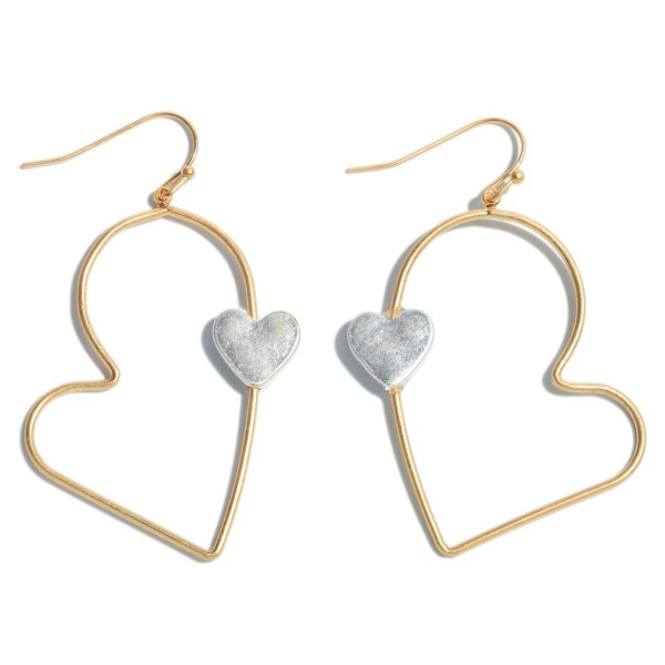 "Two Tone Heart Drop Earrings Featuring a Heart Accent.  - Approximately 2.25"" in Length"