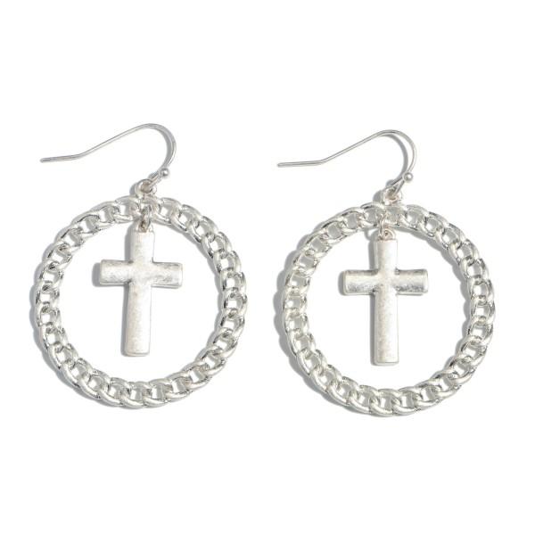 """Chain Link Cross Drop Earrings.  - Approximately 1.5"""" in Diameter"""