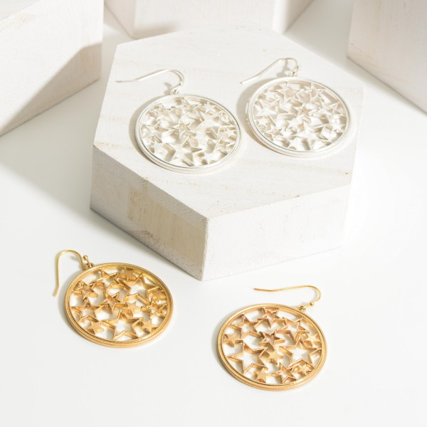 """Metal Drop Earrings Featuring Star Accents.   - Approximately 2"""" Long"""