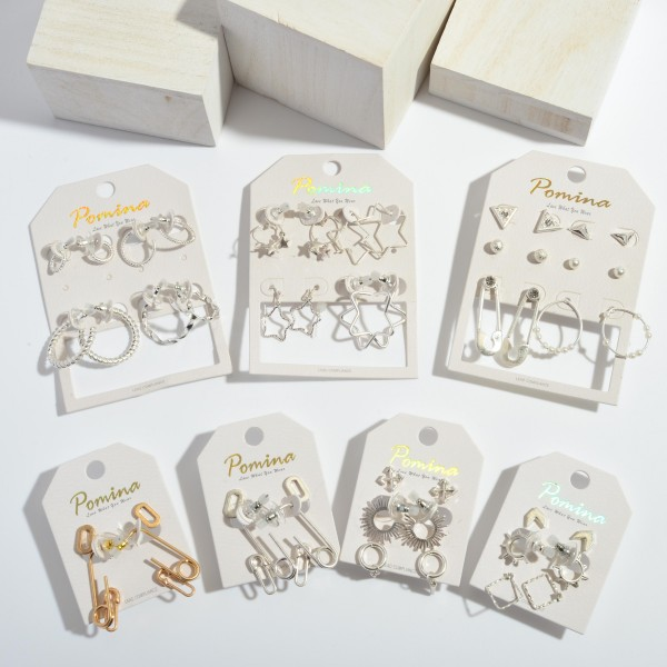 """6 PC Safety Pin Decor Earring Set.  - 6 PC Per Set - 4 Pair of Studs; 2 Drop Pair - Approximately 5mm - 1.25"""""""
