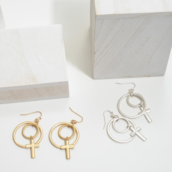 "Circle Cross Drop Earrings.  - Approximately 2"" in Length"
