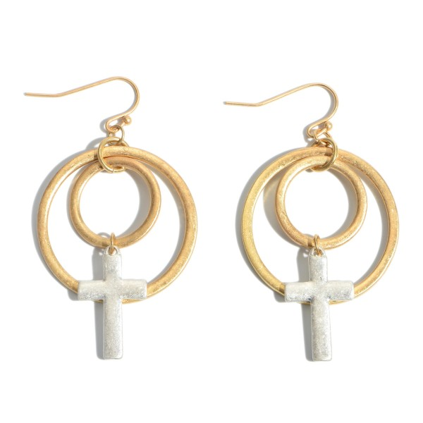 """Two Tone Circle Cross Drop Earrings.  - Approximately 2"""" in Length"""