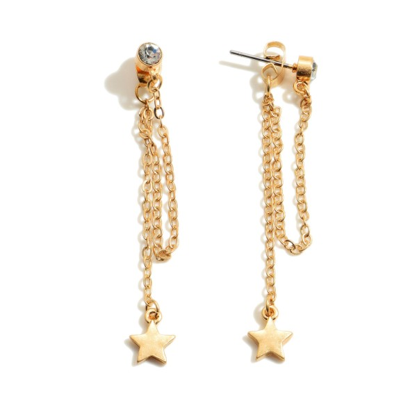 "Star Chain Drop Earrings Featuring a Rhinestone Accent.  - Approximately 2"" in Length"
