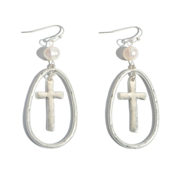 """Cross Nested Pearl Drop Earrings.  - Approximately 2.5"""" in Length"""
