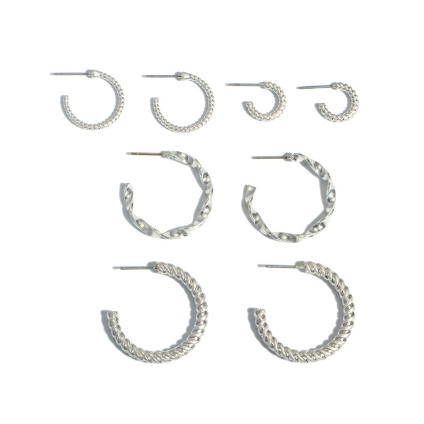 "4 PC Textured Hoop Earring Set.  - 4 PC Per Set - 4 Pair of Hoops - Approximately 10mm - 1.25"" in Diameter"