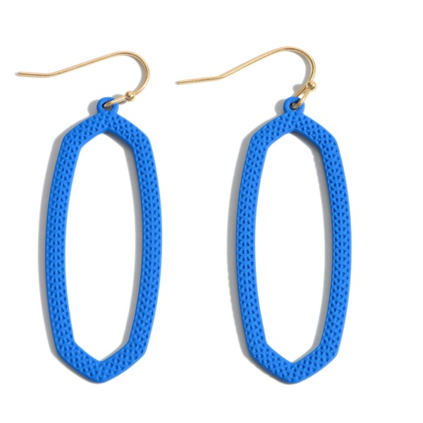 """Color Coated Oblong Drop Earrings.  - Approximately 2"""" in Length"""