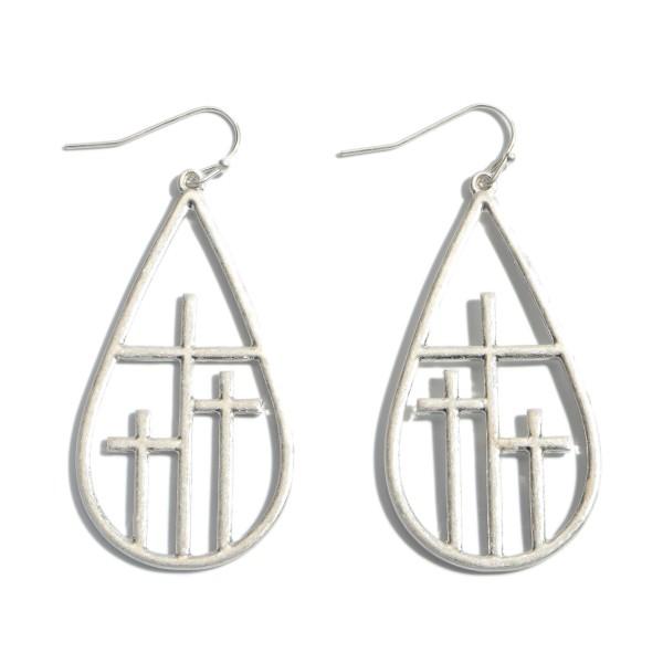 """Metal Cross Teardrop Earrings.  - Approximately 2"""" in Length"""