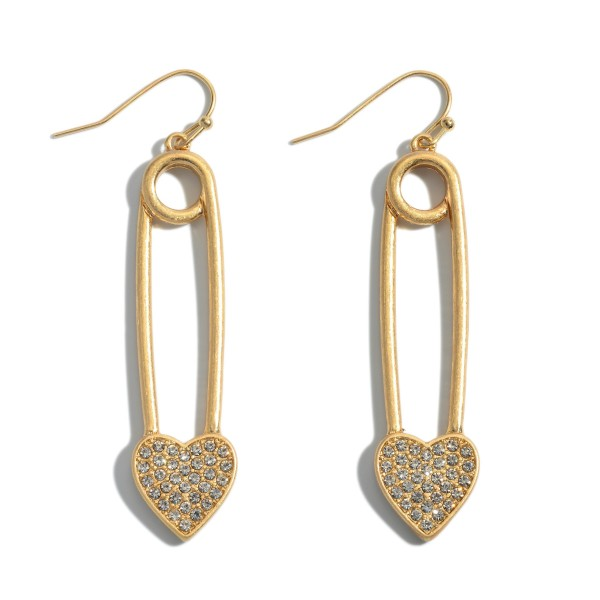"Safety Pin Pave Heart Drop Earrings in a Worn Finish.  - Approximately 2.25"" in Length"