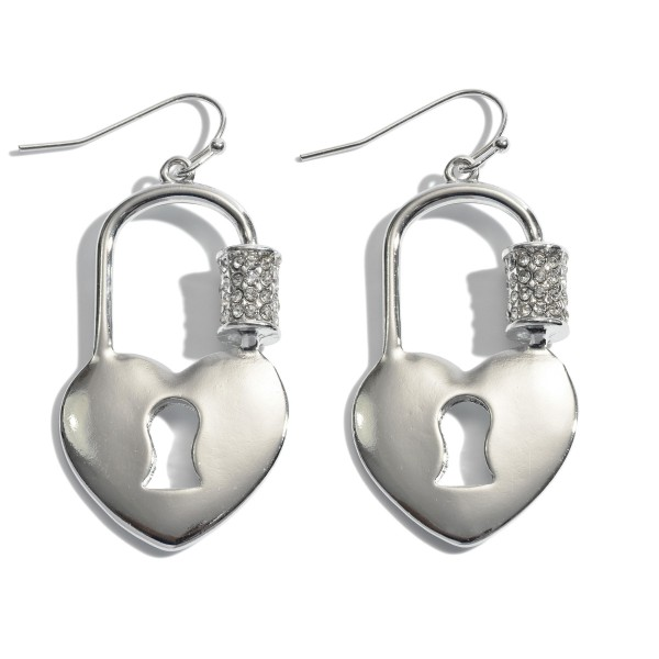 "Carabiner Heart Padlock Drop Earrings Featuring Rhinestone Accents.  - Approximately 2"" in Length"