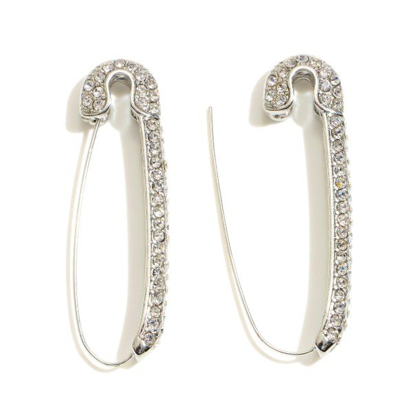 """Rhinestone Safety Pin Threader Earrings.  - Approximately 2"""" in Length"""