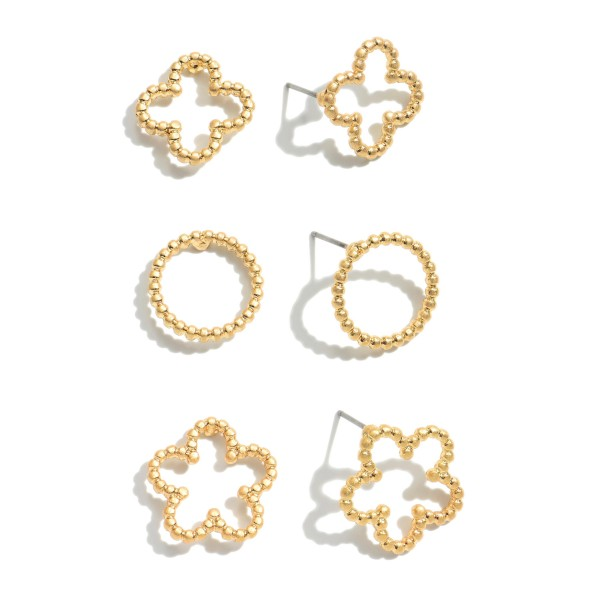 """3 PC Flower Decor Earring Set.  - 3 Pair Per Set - Approximately .75"""" in Size"""